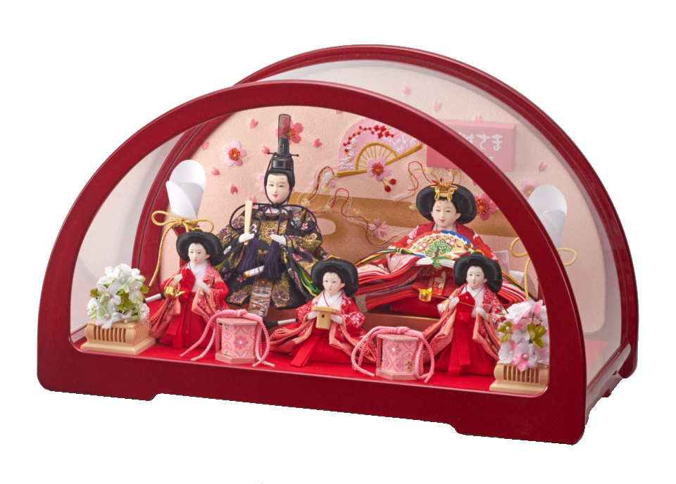 円華豆五人飾赤 193-565